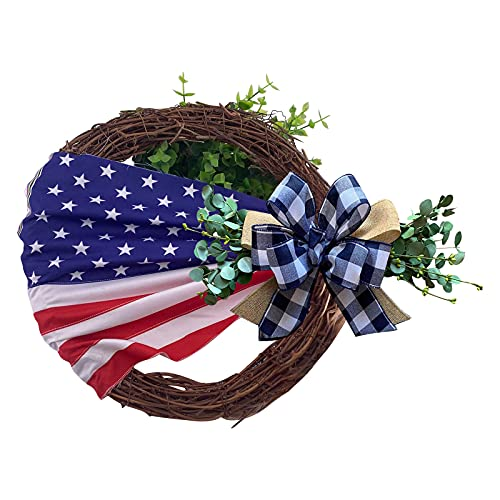 SHAPPM Patriotic Wreath Handmade Garland Decor Flag American Poly Flower Wreath Memorial Day Wreath for Home Decor