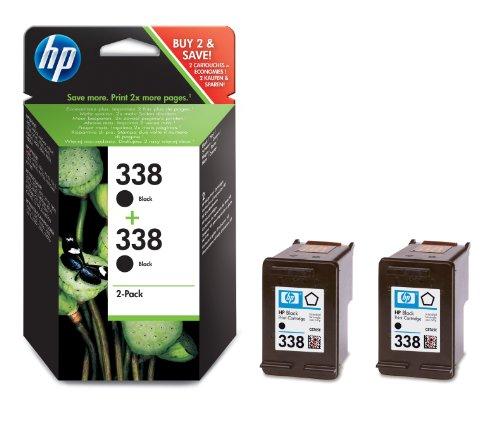HP 338 Multipack Original Druckerpatrone (2x Schwarz) für HP OfficeJet, DeskJet, Photosmart