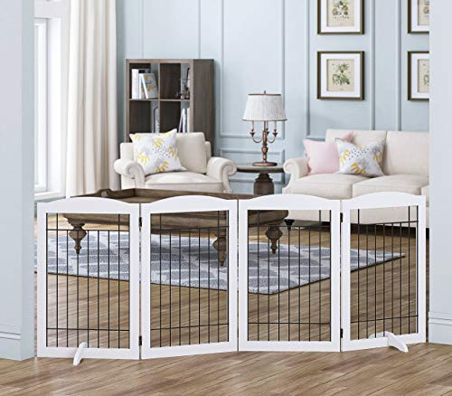 Spirich Free Standing Foldable Wire Pet Gate