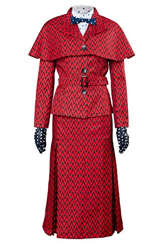 2018 Mary Poppins Returns Mary Poppins Dress Hat Red Version Cosplay Costume Donna Signora L