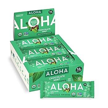 ALOHA Organic Plant Based Protein Bars Chocolate Mint 1.9 Oz  Pack of 12