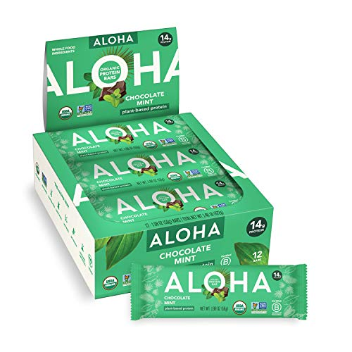 ALOHA Organic Plant Based Protein Bars - Chocolate Mint - 12 Count, 1.9oz Bars - Vegan, Low Sugar, Gluten-Free, Paleo, Low Carb, Non-GMO, Stevia-Free, Soy-Free, No Sugar Alcohols