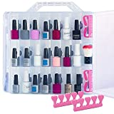 Universal Gel Nail Polish Organizer Storage Portable Carrying Case Holder for 48 Bottles Double -Sided Adjustable Dividers Space Saver with 2 Toe Separators