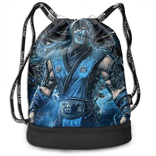 xiameng Sub-Zero Mortal Kombat Bundle Kordelzug Rucksack für Gym Sport String Bag Schule Yoga Kinder Herren und Damen Reiserucksäcke