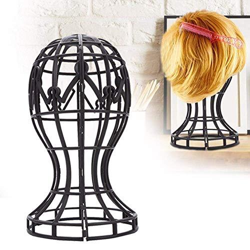 Support de perruque pliable en ABS bicolore, professionnel et durable, adapté aux coiffeurs (Noir)