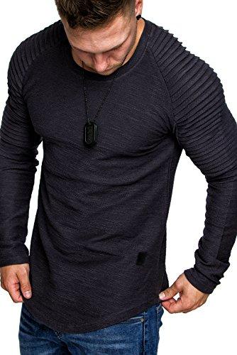Amaci&Sons Oversize Vintage Herren Pullover Biker-Style Hoodie Sweatshirt Crew-Neck 6069 Anthrazit M