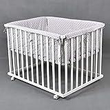 Parc bébé de luxe parc enfant 100x75cm parc de bebe HONEY BEE blanc - gris 53517