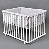 Laufgitter Babylaufgitter Laufstall 100x75cm Komplettset Babylaufstall 3-fach höhenverstellbar WEISS 53517