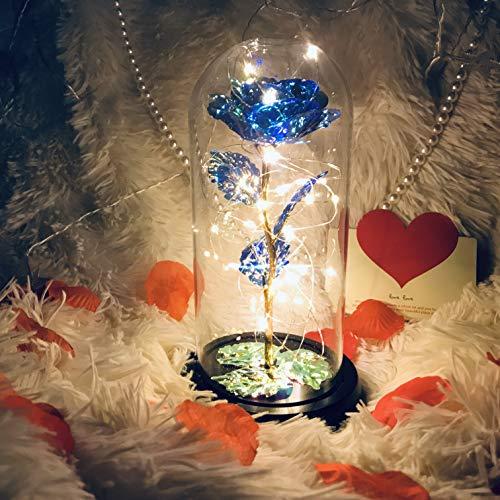 バラ 造花 薔薇 お花 ローズ 花束 LEDライト付き キラキラ バレンタイン プレゼント 雰囲気作り ギフト お祝い 母の日 誕生日 プレゼント 女性 インテリア(青-キラキラ)