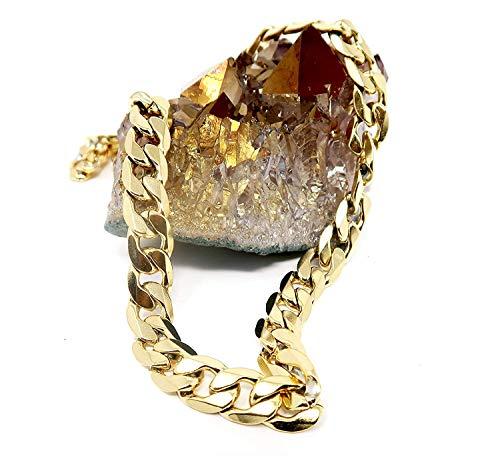 Riveting Jewelry Goldene Kette Halskette 9MM 24 K Mode Schmuck Diamanten geschnitten Miami kubanischen Link Hip Hop echte feste Spange Geschenk.