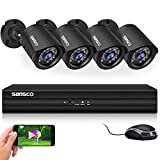 [True HD] SANSCO <span class='highlight'>4CH</span> <span class='highlight'>1080P</span> Pro CCTV Home Surveillance <span class='highlight'>Camera</span> <span class='highlight'>System</span> with (4) HD 2.0MP Bullet Cam (1920x1080 Pixels,Vandal-Proof Body, Night Vision, Motion Detection, Mobile App: Xmeye, No Hard Drive)