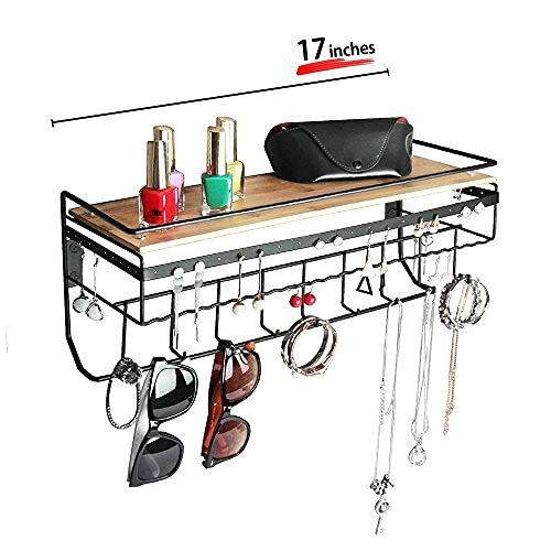 JackCubeDesign Hanging Jewelry Organizer with 9 Hooks, Wall Mount Necklace Earring Bracelet Sunglass Holder with Bamboo Shelf (Black Metal) - MK237A