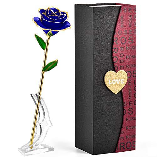 FORGIFTING Amor Caja Regalos Mujer, Rosa Eterna en Oro 24K, Regalo Original para tu Mama, Aniversario Cumpleaños Navidad Regalo, Día de San Valentín Regalos, Sant Jordi Regalo, Día de la Madre (Azul)