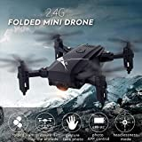 DEAR-JY Mini Pocket Drones,2.4GHz WiFi FPV Drone Quadcopter RC Plegable con cámara Gran Angular de 0.3MP / 2.0MP, Gesto Selfie Altitude Hold,Juguetes de Control Remoto de fotografía aérea,Negro,2.0MP