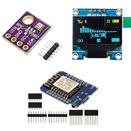 KeeYees BME280 Temperature Humidity Atmospheric Pressure Sensor + 0.96' IIC OLED LCD Screen LED 128X64 Module + for NodeMcu Lua WLAN WiFi Development Board for Arduino