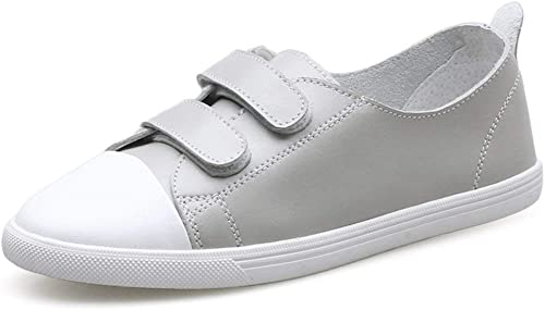 Chaussures Chaussures polyvalentes Occasionnelles, Chaussures en Cuir Blanc, Chaussures Velcro féminines féminines