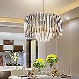 TZOE Crystal Chandelier,Modern Drum Light,17.7'(D) x45.7'(H),4 Light Crystal Pendant Light,Adjustable Height,Polished Chrome,UL Listed