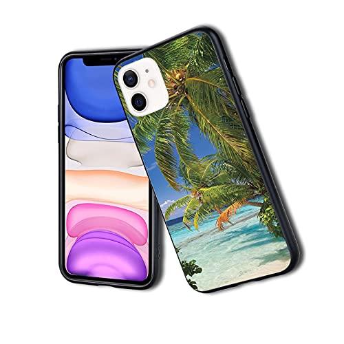 Tropical Paradise at Maldives with Palms Blue Sky Beautiful Beaches Tranquility, funda delgada para teléfono iPhone 11Pro Max, silicona TPU protectora ligera ultra delgada patrón impreso