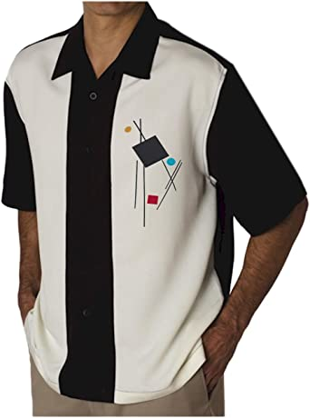 Bowling Concepts Designs Camisa de Campamento para Hombre, Estilo Vintage, Estilo Cubano, para Bolos