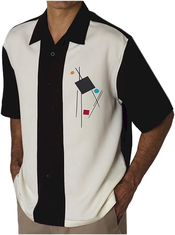 Men's Vintage Clothing | Retro Clothing for Men Mens Camp Shirt Vintage Cuban Style Bowling Shirt M-Men  AT vintagedancer.com