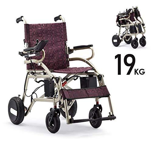 Powerchair met hanger, ouderwetse opvouwbare elektrische rolstoel, lichte, intelligente rolstoel, zonder wanten motor voor gehandicapten en oudere aluminiumlegering, frame 6 Ah lithium-batterij.