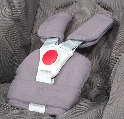 ByBoom - Gurtpolster Set - universal für Babyschale, Buggy, Kinderwagen, Autositz (z.B. Maxi Cosi City SPS, Cabrio, Cybex Aton usw.); In vielen Farben; MADE IN EU, Farbe:Dunkelgrau