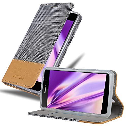 Cadorabo Hülle für Sony Xperia E1 in HELL GRAU BRAUN - Handyhülle mit Magnetverschluss, Standfunktion & Kartenfach - Hülle Cover Schutzhülle Etui Tasche Book Klapp Style
