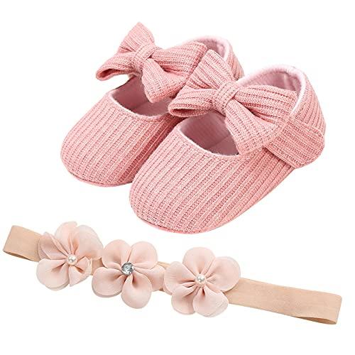 YWLINK Spring Y OtoñO Mariposa Zapatos De Bebé Zapatos De Bebé Zapatos De Princesa Zapatos Inferiores Suaves + Banda De Pelo 2