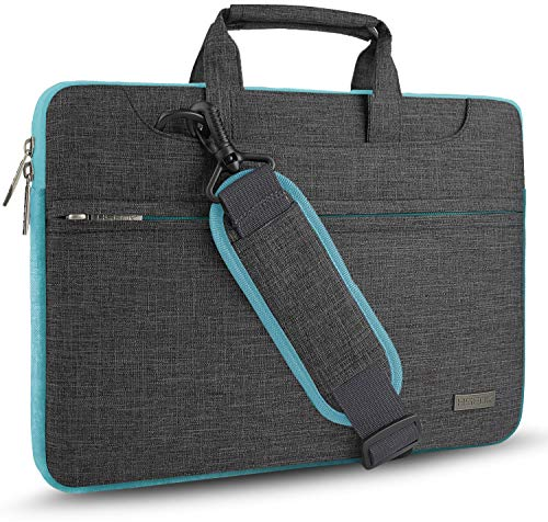 HSEOK Laptop Shoulder Bag 15 15.6 16 Inch Brifecase, Compatible MacBook Pro 16 15.4 Inch, XPS 15 Spill-Resistant Handbag with Shoulder Strap for Most 14'-16' Notebooks, Linen Grey&blue