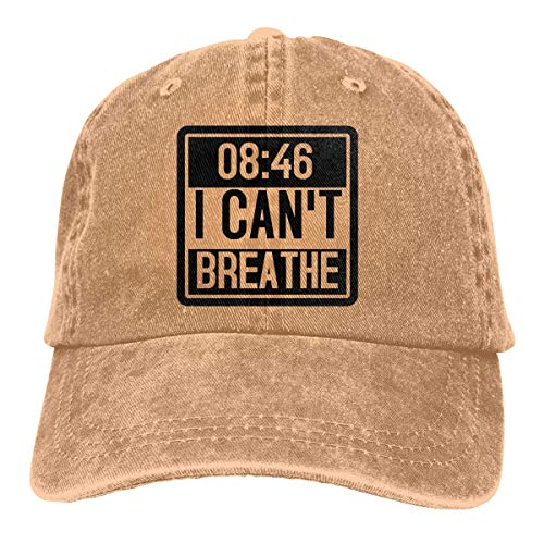 AOOEDM I Can't Breathe Sombreros de Vaquero Unisex Sombrero de Mezclilla Deportivo Gorra de béisbol de Moda Negro