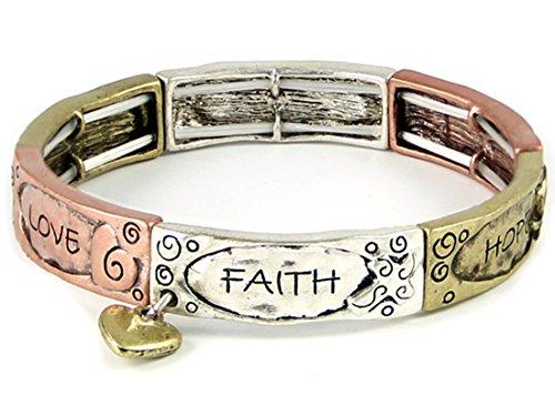4031410 Faith Hope Love Tri Tone Stretch Bracelet Heart Charm 1 Corinthians Scripture