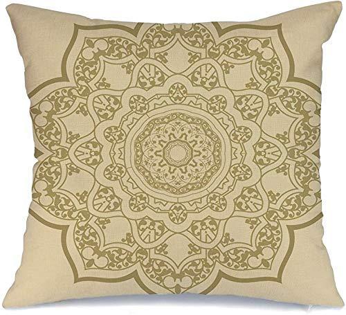 Decoración Throw Pillow Cover Funda de cojín Árabe Diseño de patrón redondo Turco Persa Rococó Damasco Abstracto Barroco Silueta Belleza Retro Funda de Cojine 45 X 45CM