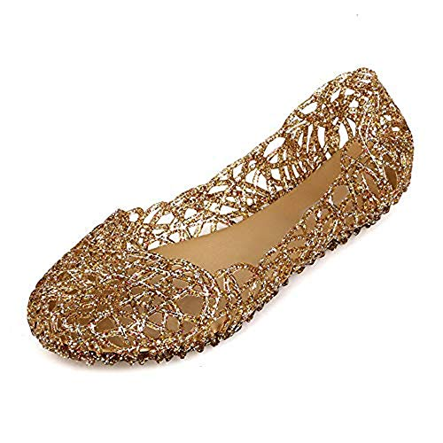 Domucos Women's Bird Nest Jelly Ballet Flats Beach Shoes Glitter Loafers Round Toe Sandals-gold-6-37