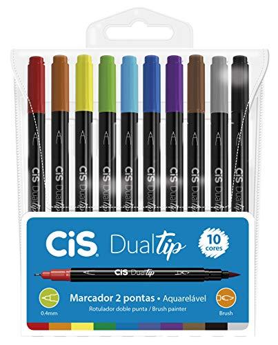 Marcador Artístico, CIS, DUALTIP 59.2000, Multicor, Estojo c/10 cores sortidas