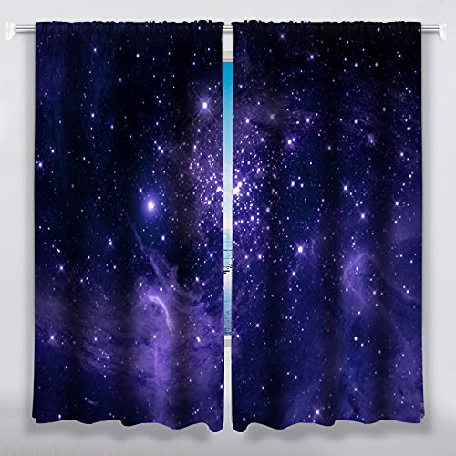 Prety Galaxy Window Curtains Blackout Drapes Rod Pocket Window Panels for Bedroom Living Room Kitchen 42' x 63' Set of 2 Panels