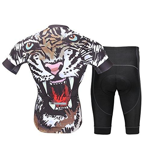 Amur Leopard Maillot de Cilismo para Hombre,Conjunto de Camiseta Ciclismo de Bicicleta...
