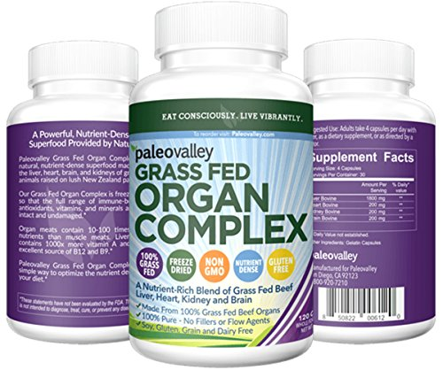 Paleovalley: Grass Fed Organ Complex - Desiccated Beef Organ Capsules - 30 Day Supply - Provides B12 Vitamins, Gently Freeze Dried, and A Variety of Organ Meats - Liver, Heart, Kidney, and Brain