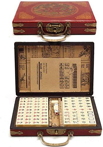 LLKK Mahjong Set Mahjong,144 Piezas con Caja de Cuero de Estilo Retro de Lujo para Fiesta en casa