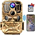 CAMOLO Trail Game Camera WiFi 24MP 1296P Waterproof 0.2S Trigger Speed Hunting Scouting Camera with 56PCS IR LEDs Clear Night Vision 3 PIR Motion Sensor 32GB SD Card for Wildlife Home 140° Monitoring