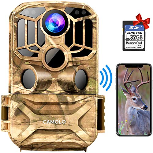 """CAMOLO WIFI Wildlife Camera 24MP 1296P with 32GB SD Card, Trail Camera with 140° Wide Angle 0.2s Trigger Speed Wildlife Camera with Night Vision Motion Activated IP67 Waterproof and 2.0"""" LCD IR LEDs"""