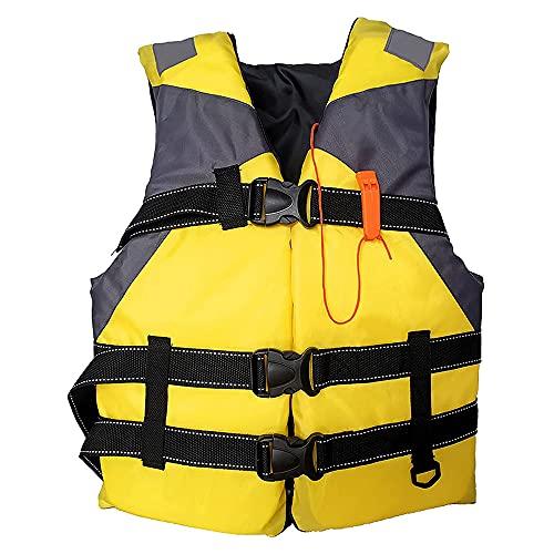 Chalecos Salvavidas de Seguridad para Adultos con Silbato, ayudas de flotabilidad para Boyas de natación, utilizados para la Pesca, Kayak, Snorkeling, Paddle Surf Yellow L Code