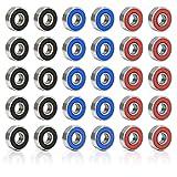 BAMZOK Cuscinetti a Sfera per Skateboard in Metallo Cuscinetto a Sfere a Gola Profonda Miniatura Cuscinetti a Sfere a Doppia Schermatura per Pattini Rotelle Linea Nero Blu Rosso