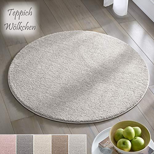 Teppich Wölkchen Kurzflor Teppich I Flauschige Flachflor Teppiche fürs Wohnzimmer, Esszimmer, Schlafzimmer oder Kinderzimmer I Einfarbig I Grau - 120 rund