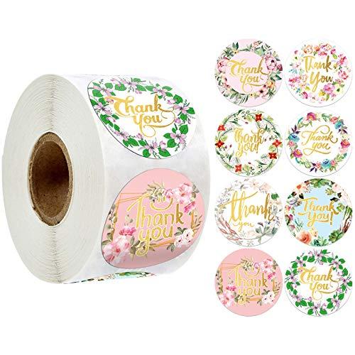 8 estilos redondos florales de agradecimiento (500 piezas/rollo) etiquetas de sello de boda para fiesta de recortes de regalo