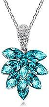 18k White Gold PlatedCLUSTER Pendant Necklace With Blue Swarovski Elements And White Diamonds