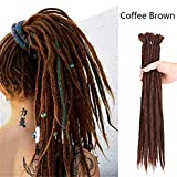 YEMOCILE 20' 20 PCS/Pack Hecho a mano humano Rastas Dreadlocks Extensiones de cabello Trenzado sintético Crochet Para las mujeres afro hombres Cabello Ombre Faux Locs Reggae Cabello (Café marrón)
