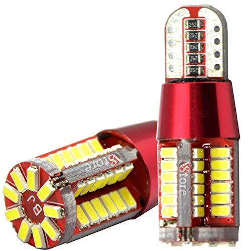 VS 2 Pezzi Lampadine LED Auto T10 W5W Canbus Sensa Errore 57-SMD 4014 LED Ultra Luminoso Luce Posizione Targa Lampade Interni Luce Bianca Xenon 6000K, 12V