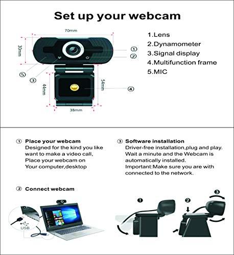 1080p Webcam mit Mikrofon, Full HD 1080p / 30fps Videoanrufe, klares Stereo-Audio, für Desktop-PC, MAC, Laptop, Streaming von WebcamPlug und Play Webcam für Youtube, Videoanruf, Studieren, Konferenz