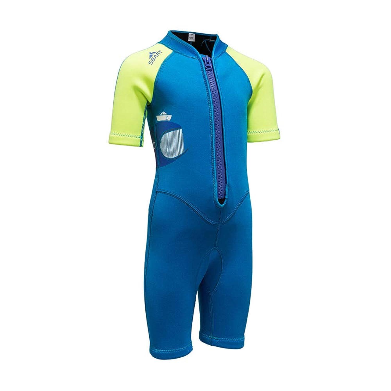 男の子の水着 2MMダイビングスーツ 子供たち 男の子と女の子 クラゲ 日焼け止め サーフィン 厚い シャム 暖かく保つ 水着 水着水着 (色 : Green+Blue, サイズ : XXXL)
