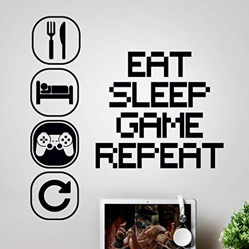 Wandsticker Kunst Gaming Jungen Schlafzimmer Aufkleber Eat Sleep Game Repeat Zimmer Zubehör Junge Dekor Gamer Aufkleber Poster Kind Decals Schlafzimmer Kinder Graffiti Tapete Vinyl Poster Teenage